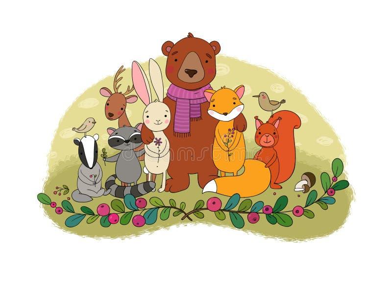 gullig skog för djurtecknad film Gladlynt björn, räv, gullig hare, ekorre och tvättbjörn i ängen vektor illustrationer
