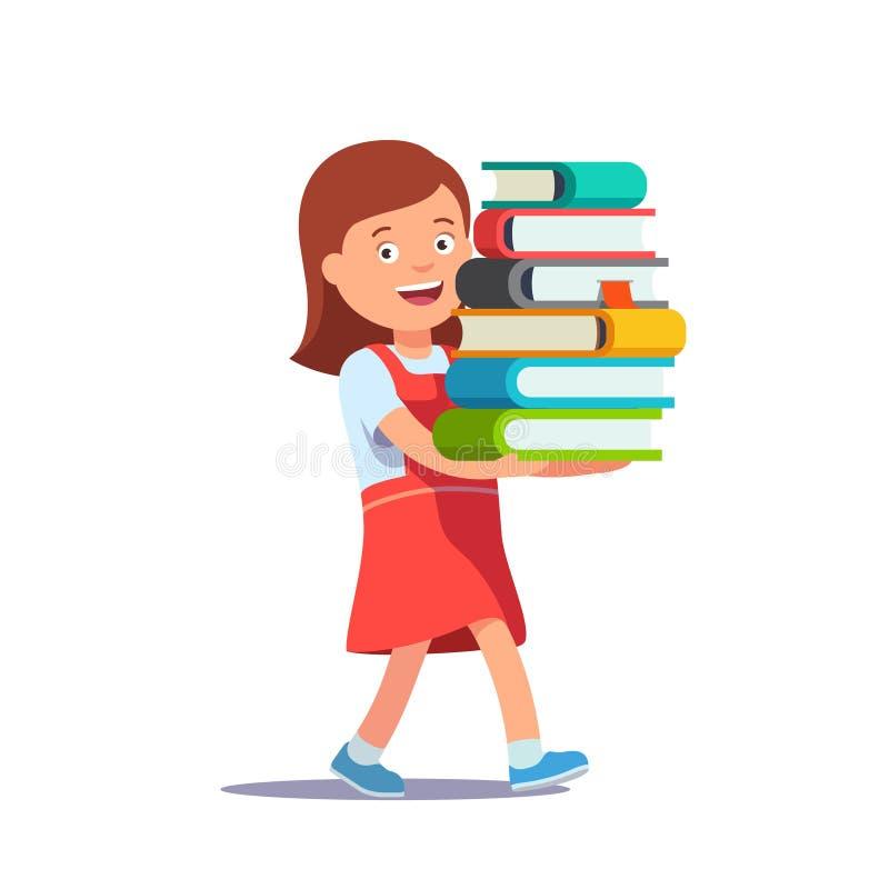 Gullig skolaflicka som bär den stora högen av böcker stock illustrationer