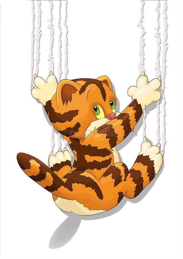 Gullig skrapande katt royaltyfria foton