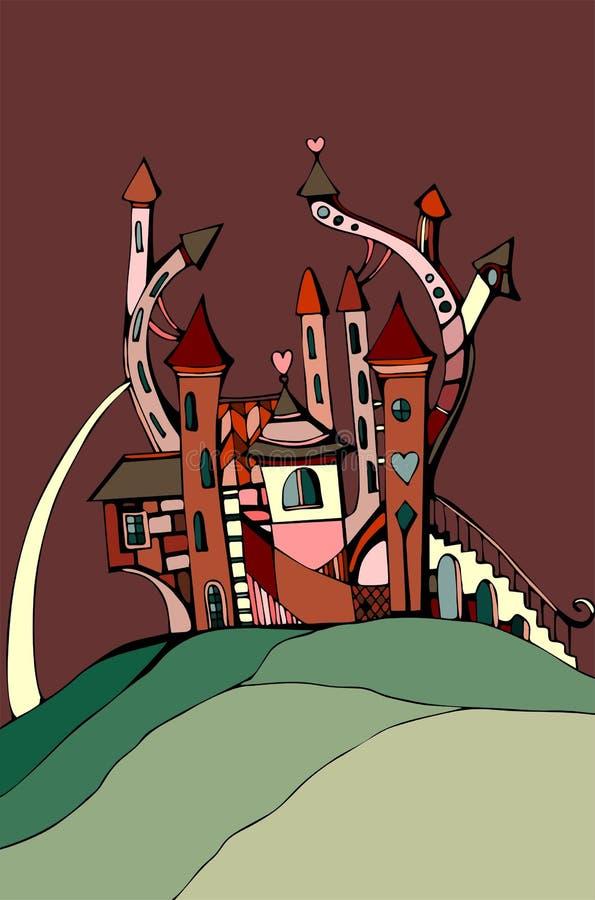 Gullig slott för valentindag Sött hus på bakgrund av chokladhimmel royaltyfri illustrationer