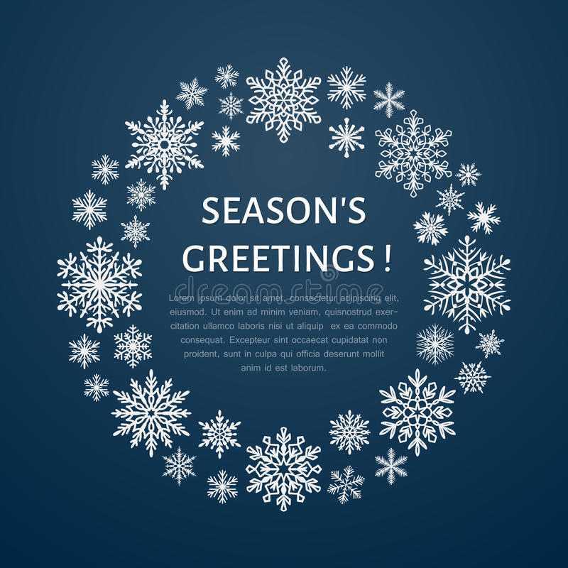 Gullig snöflingaaffisch, baner ferie för hälsningar för julsammansättning smyckar kall grön säsonger för fotopresentsred Plana sn stock illustrationer