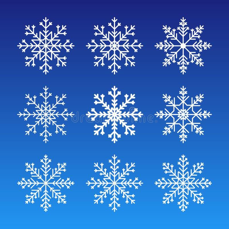 Gullig snöflingasamling som isoleras på mörk bakgrund Plan snösymbolskontur Trevlig beståndsdel för julbanret, kort nytt royaltyfri illustrationer