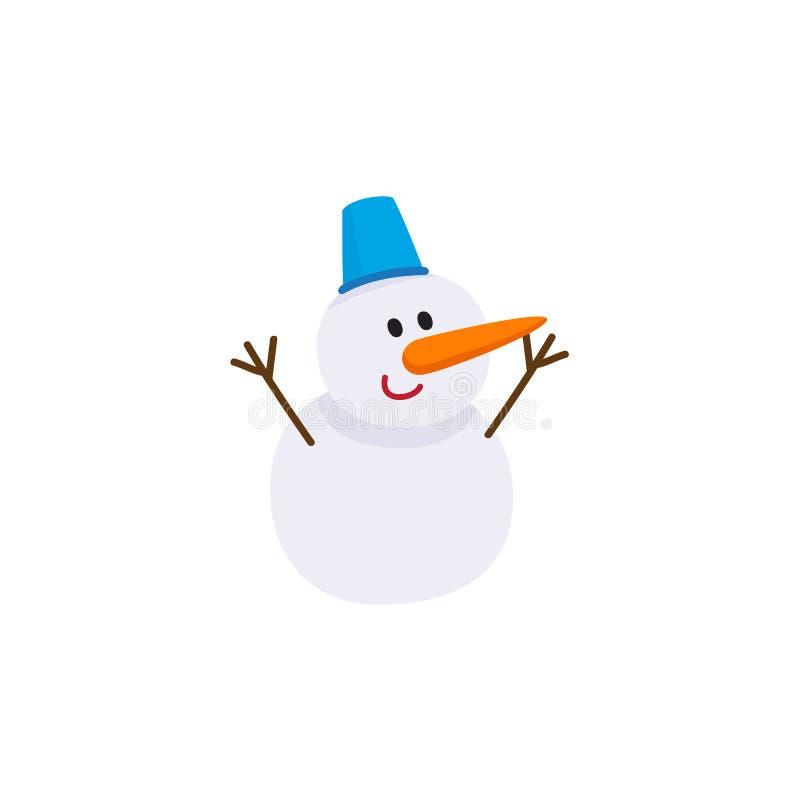 Gullig snögubbe med morotnäsan och hinkhatten vektor illustrationer