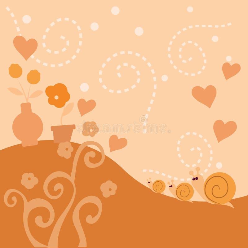 gullig snail för bakgrund vektor illustrationer