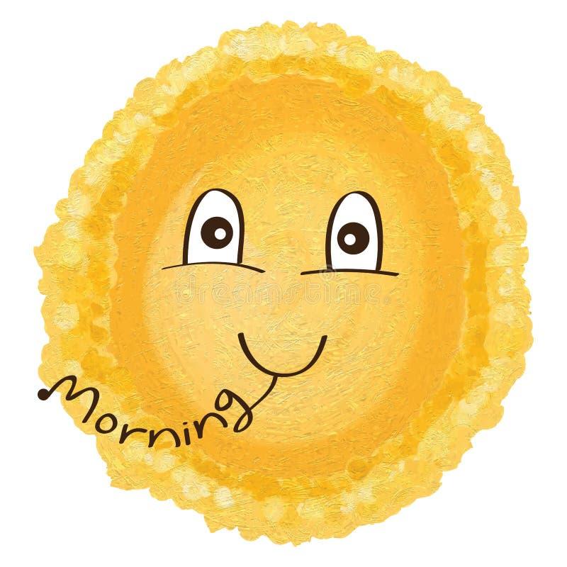 Gullig solallsångmorgon royaltyfri illustrationer