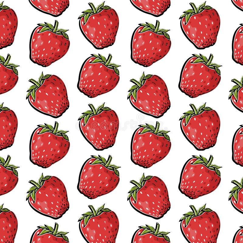 Gullig sommarmodell med jordgubbar på vit bakgrund vektor illustrationer