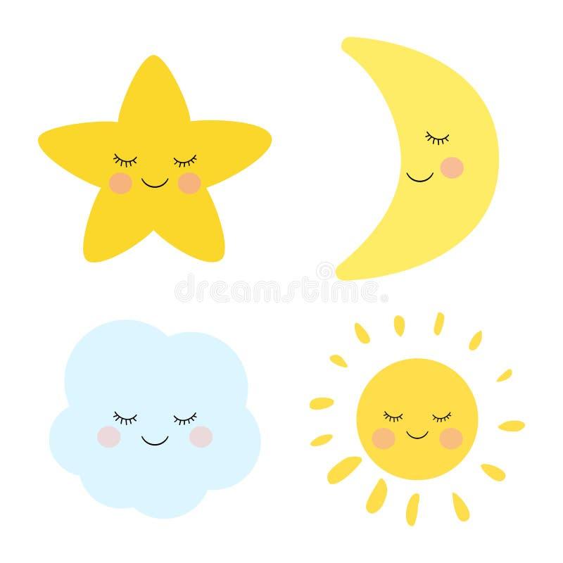 Gullig sova och le liten stjärna, måne, moln och sol Förtjusande barnslig konst stock illustrationer
