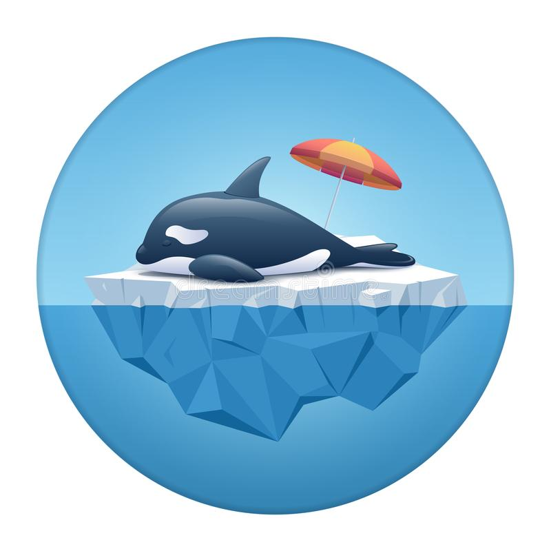 Gullig späckhuggare eller späckhuggaren som sover på isberget i den vita cirkelramen royaltyfri illustrationer