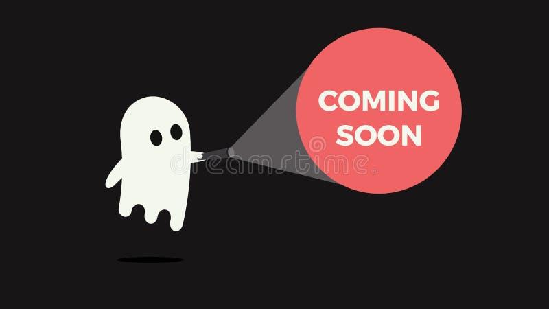 Gullig spöke med hans ficklampa som pekar in mot ett meddelande för nya produkten eller filmen som snart kommer royaltyfri illustrationer