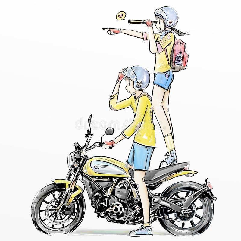 Gullig sparkcykel för chibiflickaridning royaltyfri illustrationer