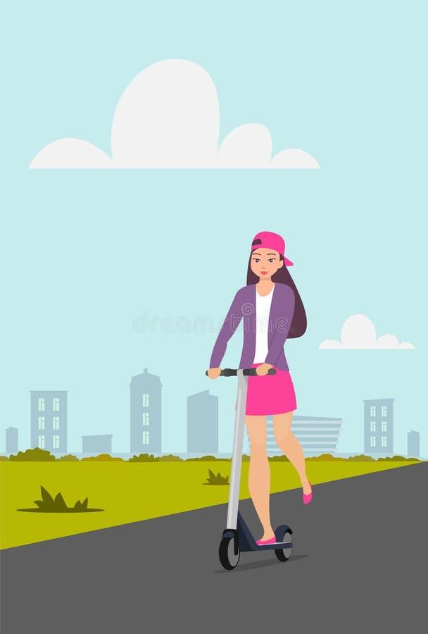 Gullig sparkcykel för flickaridningspark på stadsgatan Tonårig flicka i ritter för kort kjol, omslags- och baseballmössapå sparkc vektor illustrationer