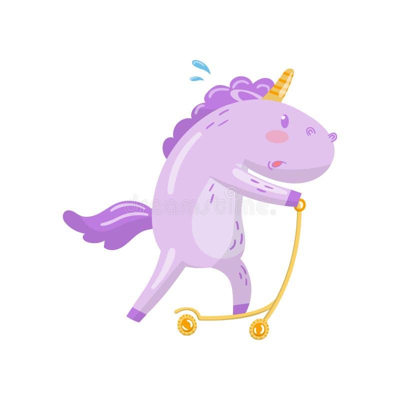 Gullig sparkcykel för spark för enhörningteckenridning, rolig magisk djur tecknad filmvektorillustration vektor illustrationer