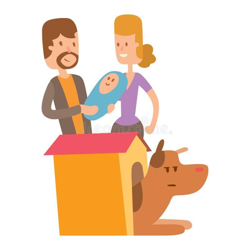 Gullig spela hundkapplöpning för vektorillustration med aveln för rolig fullblods- valp för folktecken den komiska lyckliga däggd stock illustrationer