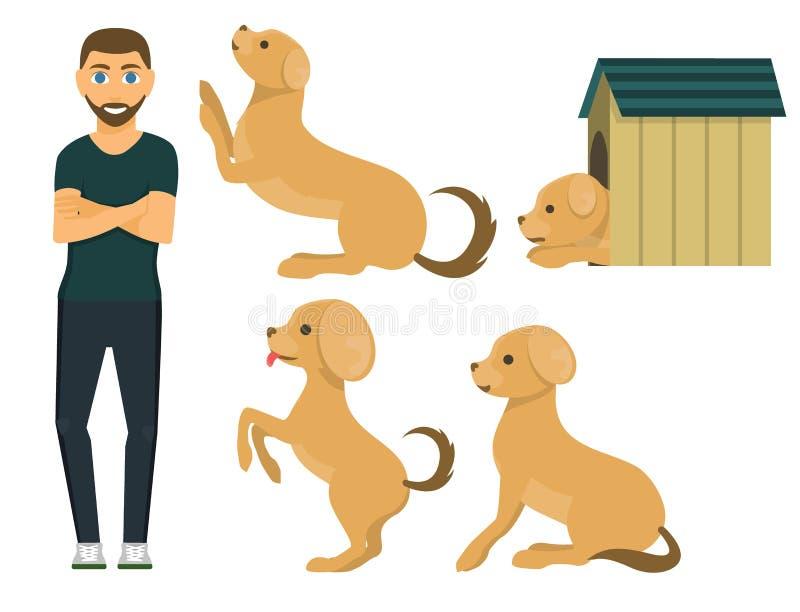 Gullig spela illustration för tecken för rolig fullblods- avel för valp för hundtecken komisk lycklig däggdjurs- djur vektor illustrationer