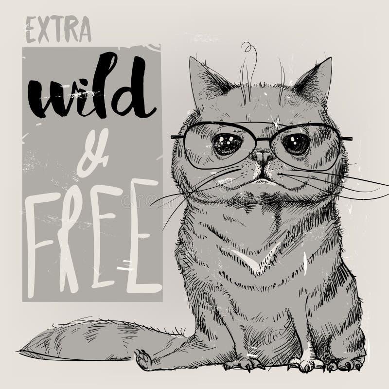 Gullig stående av en katt royaltyfri illustrationer