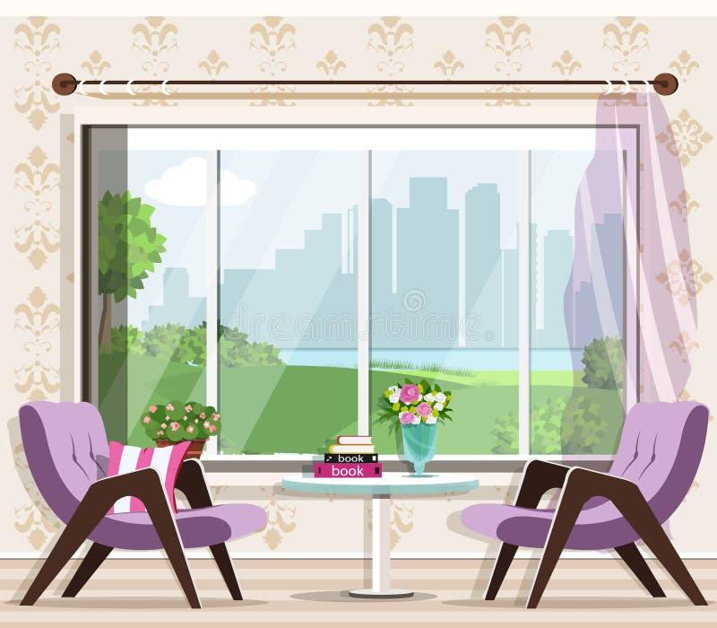 Gullig stilfull vardagsruminreuppsättning: fåtöljer tabell, fönster Grafiskt möblemang Lyxig ruminredesign stock illustrationer