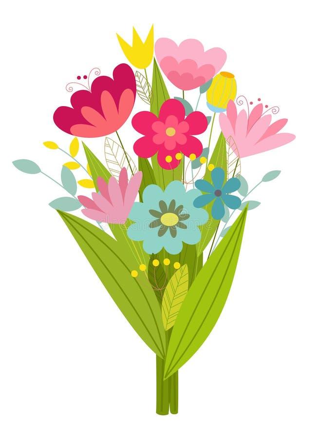Gullig stiliserad bukett av blommor också vektor för coreldrawillustration royaltyfri illustrationer