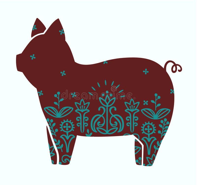 Gullig stiliserad kontur för vektor av den dekorativa skandinavet för svin royaltyfri illustrationer