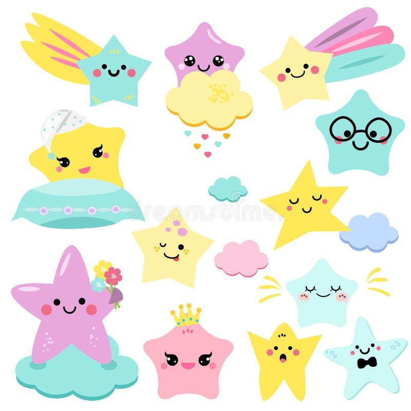 Gullig stjärnavektorillustration för ungar isolerade designbarn baby showerstjärnor, designbeståndsdelar i kawaii utformar vektor illustrationer