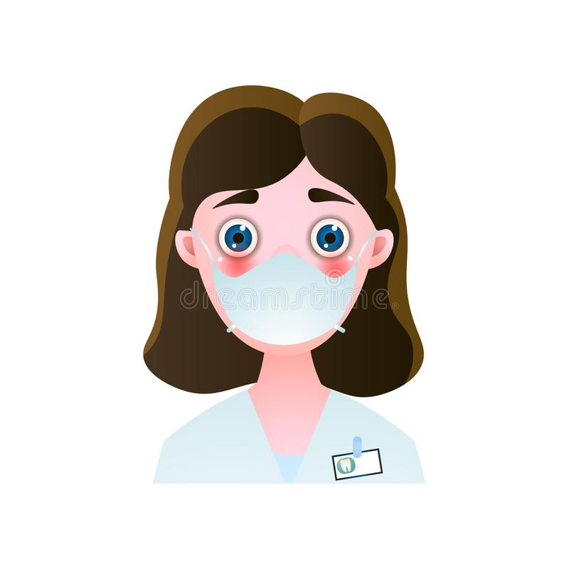 Gullig stomatologic kvinna i vit kläder med blåa ögon vektor illustrationer