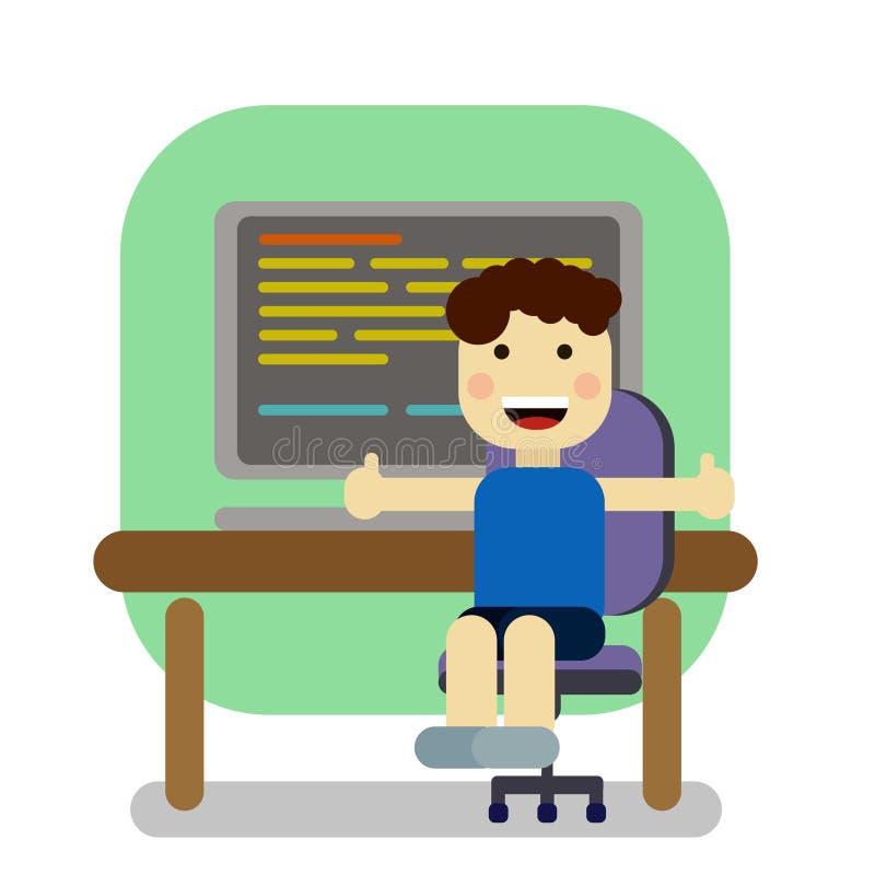 Gullig studentpojke som arbetar med datoren royaltyfri illustrationer