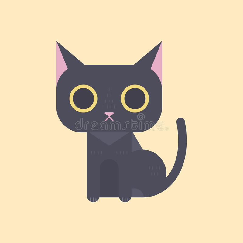 Gullig svart katt i plan stil royaltyfri illustrationer
