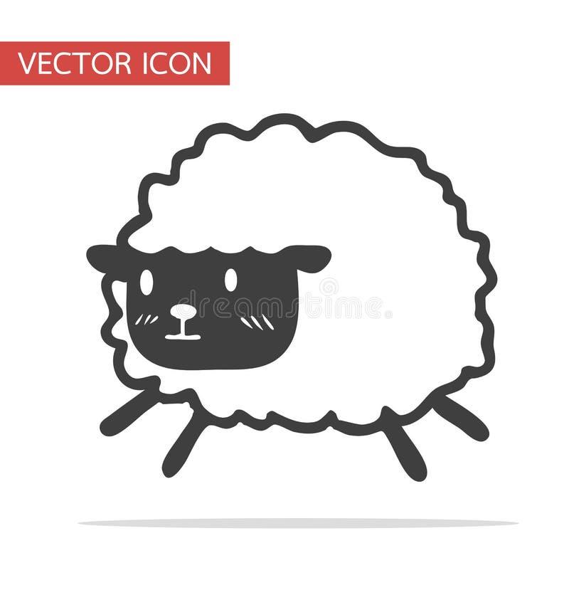 Gullig svart liten fårvektorsymbol vektor illustrationer