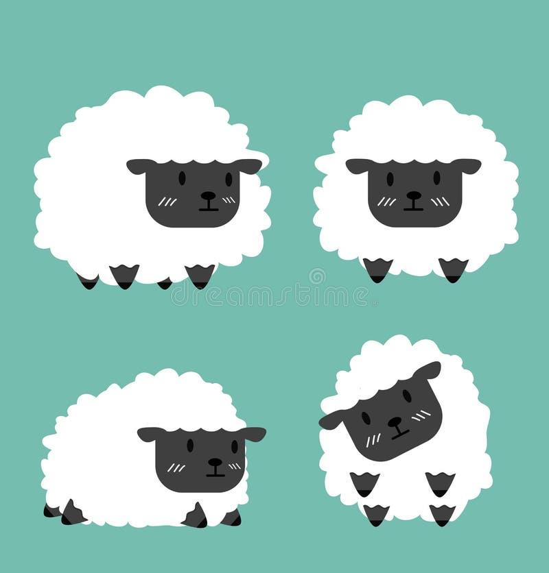 Gullig svart liten fårvektoruppsättning royaltyfri illustrationer