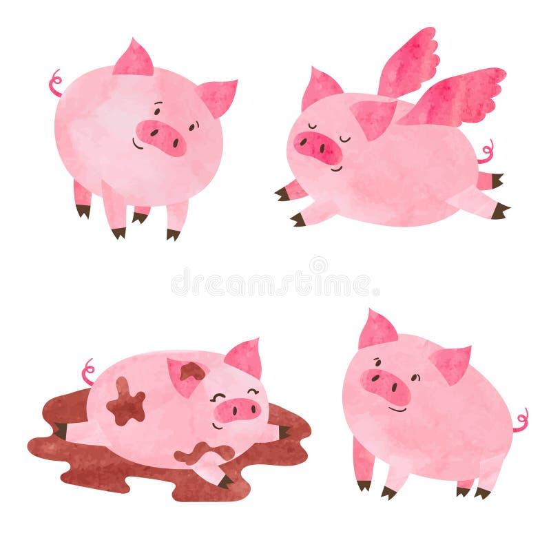 Gullig svinuppsättning för vattenfärg royaltyfri illustrationer