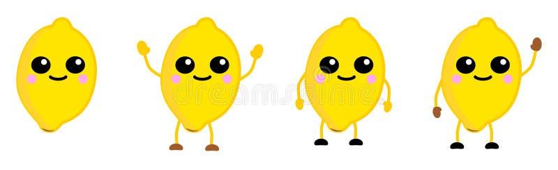 Gullig symbol för frukt för kawaiistilcitron, stora ögon som ler Version med lyftta händer, ner och att vinka stock illustrationer