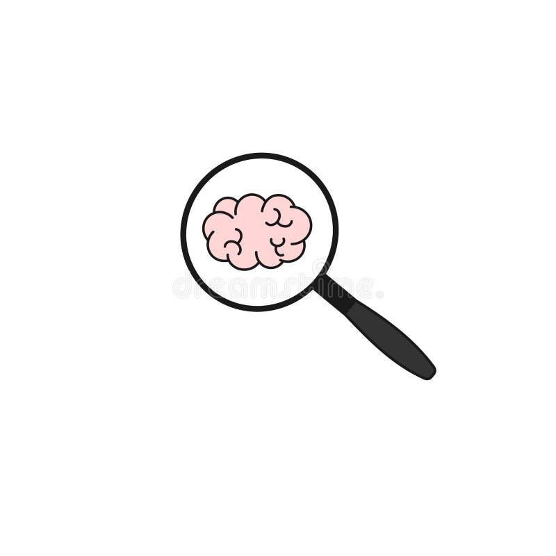 Gullig symbol för tecknad filmvektorklotter med förstoringsglaset och hjärnan stock illustrationer