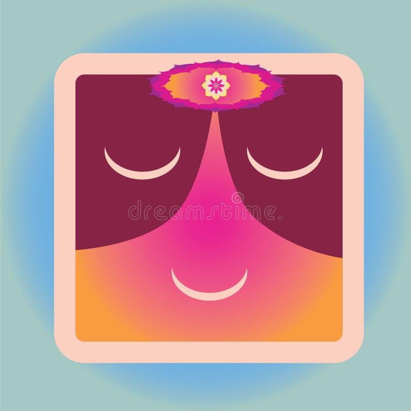 Gullig symbol med blommamandalaen royaltyfri illustrationer