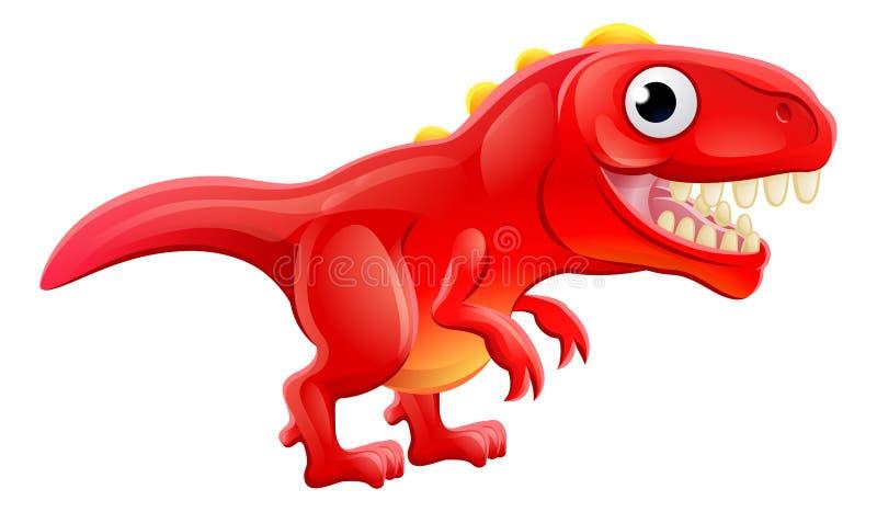 Gullig T Rex Cartoon Dinosaur royaltyfri illustrationer