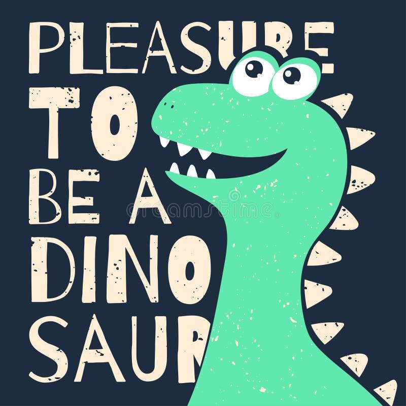 Gullig t-skjorta design för ungar Rolig dinosaurie i tecknad filmstil T-tröjadiagram med slogan stock illustrationer