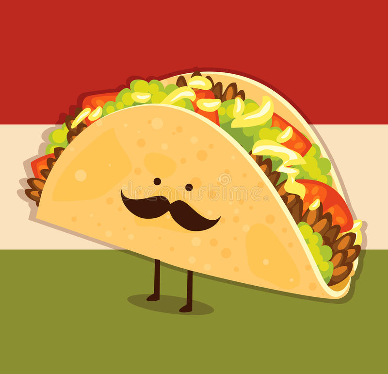 Gullig taco stock illustrationer