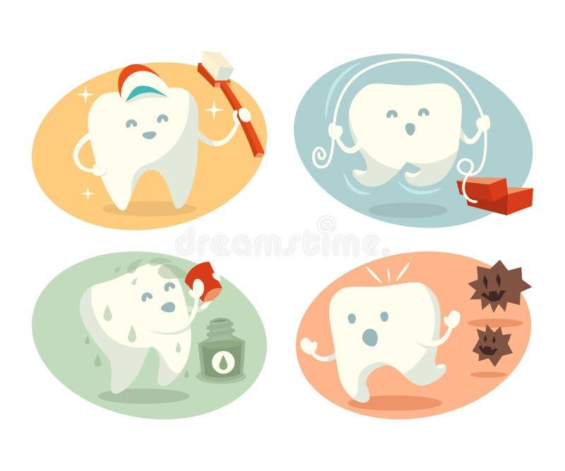 Gullig tand i olika lägen royaltyfri illustrationer