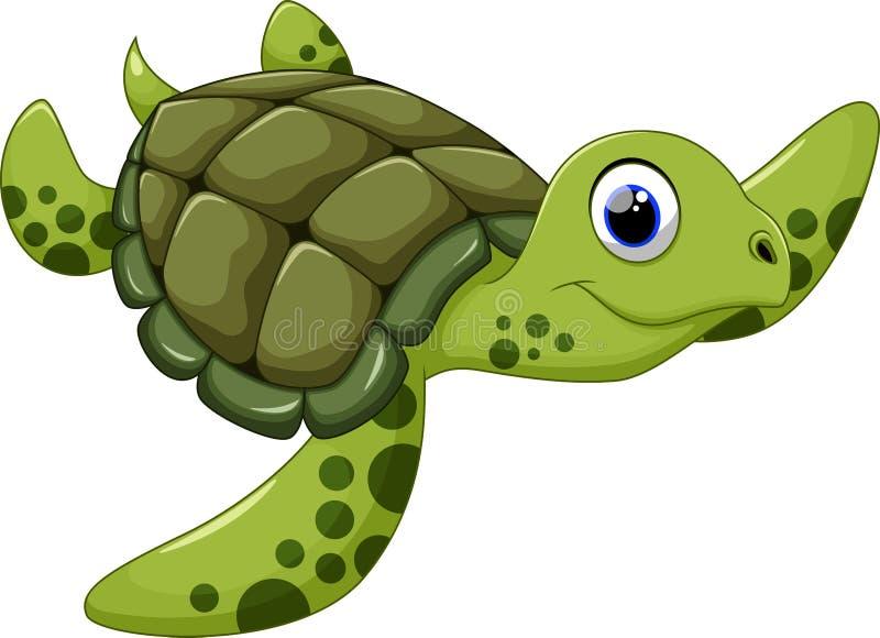 Gullig tecknad film för havssköldpadda stock illustrationer