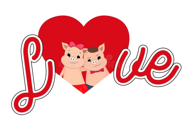 Gullig tecknad film för valentinspädgris Stor bokstavsförälskelse vektor illustrationer
