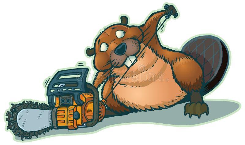 Gullig tecknad film för vektor för bäverStrarting Chainsaw royaltyfri illustrationer
