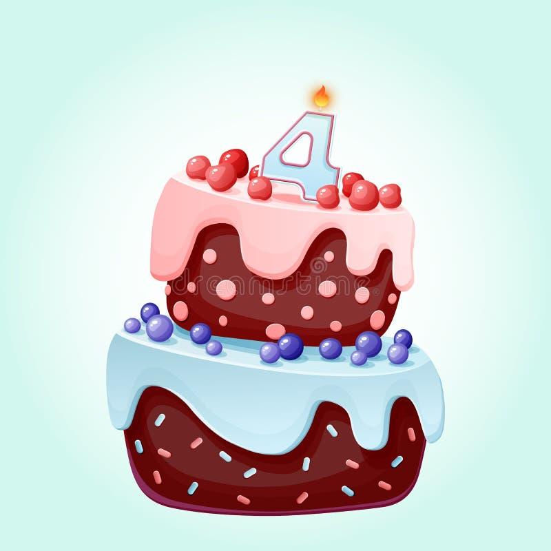 Gullig tecknad film festlig kaka för 4 år födelsedag med stearinljuset nummer fyra Chokladkex med b?r, k?rsb?r och bl?b?r f?r stock illustrationer