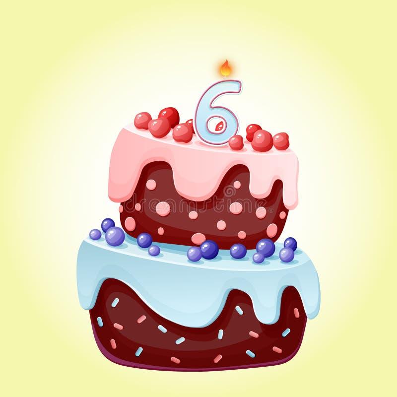 Gullig tecknad film festlig kaka för 6 år födelsedag med stearinljuset nummer sex Chokladkex med b?r, k?rsb?r och bl?b?r f?r vektor illustrationer