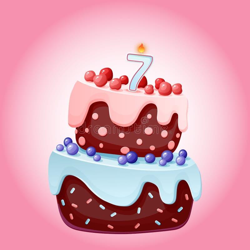 Gullig tecknad film festlig kaka för 7 år födelsedag med stearinljuset nummer sju Chokladkex med b?r, k?rsb?r och bl?b?r f?r royaltyfri illustrationer