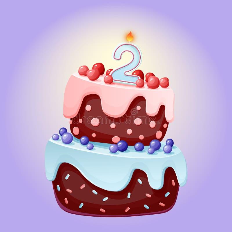 Gullig tecknad film festlig kaka för 2 år födelsedag med stearinljuset nummer två Chokladkex med b?r, k?rsb?r och bl?b?r f?r vektor illustrationer