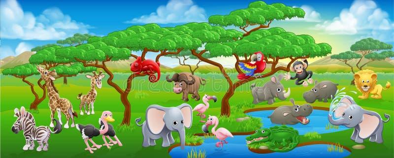 Gullig tecknad film Safari Animal Scene Landscape stock illustrationer