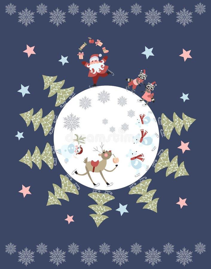 Gullig tecknad film Santa Claus som jonglerar gåvor, renen, snögubben, isbjörnar, små tvättbjörnar och julträd på skridskor royaltyfri illustrationer
