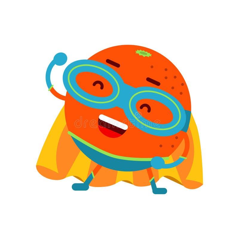 Gullig tecknad film som ler den orange superheroen i maskerings- och gulingudde, färgrik humaniserad fruktteckenillustration royaltyfri illustrationer