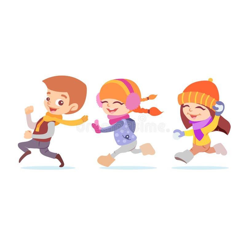 Gullig tecknad film som spelar ungar som kör i vinter royaltyfri illustrationer