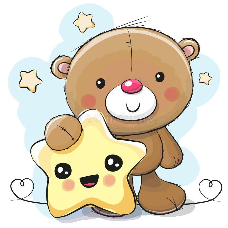 Gullig tecknad film Teddy Bear med stjärnan stock illustrationer