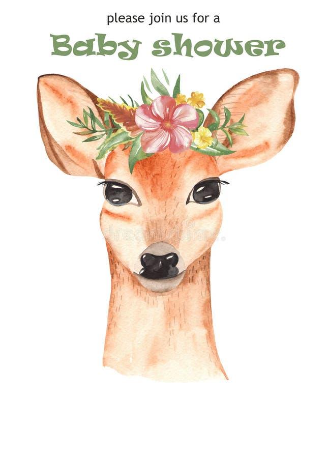 Gullig tecknad filmaffisch för vattenfärg för ungar jaguar, tukan, hjort med tropiska blommor royaltyfri illustrationer