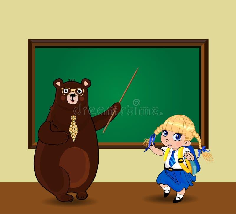 Gullig tecknad filmbjörnlärare och kawaiiskolflicka nära svart tavla med kopieringsutrymme i klassrum stock illustrationer